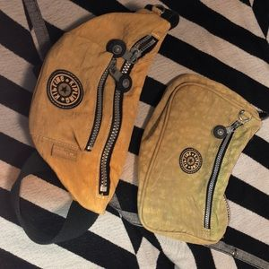 Kipling fanny pack/ cosmetic bag set of 2